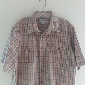 Carhartt Mens Button-Front Plaid Shirt S/S Sz XL